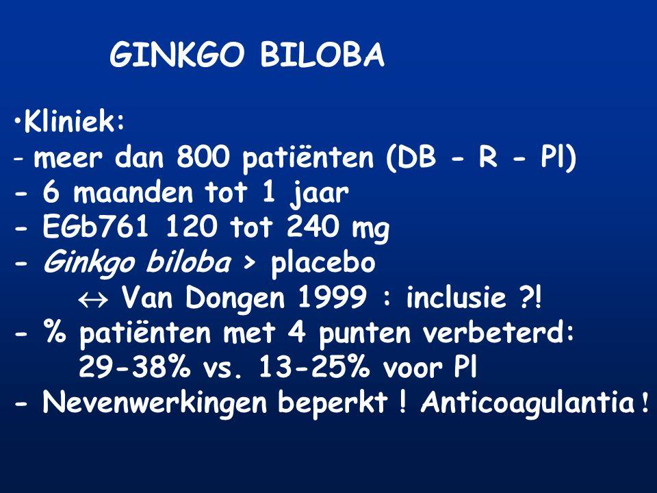 GINKGO BILOBA Kliniek: - meer dan 800 patiënten (DB - R - Pl) - 6 maanden tot 1 jaar - EGb761 120 tot 240 mg - Ginkgo biloba > placebo  Van Dongen 19
