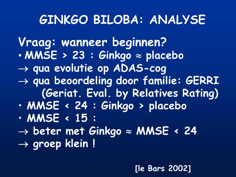 GINKGO BILOBA: ANALYSE Vraag: wanneer beginnen? MMSE > 23 : Ginkgo  placebo  qua evolutie op ADAS-cog  qua beoordeling door familie: GERRI (Geriat.