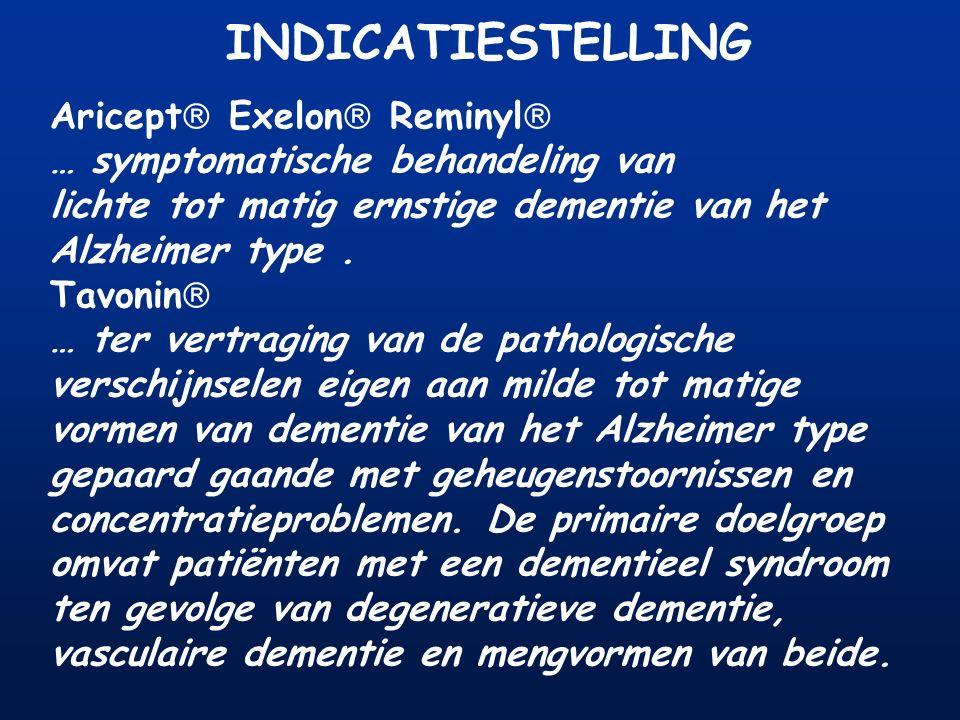 INDICATIESTELLING Aricept  Exelon  Reminyl  … symptomatische behandeling van lichte tot matig ernstige dementie van het Alzheimer type. Tavonin  …