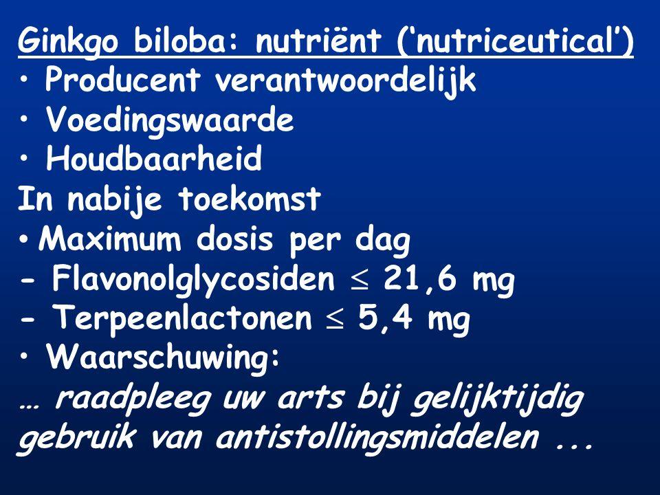 Ginkgo biloba: nutriënt ('nutriceutical') Producent verantwoordelijk Voedingswaarde Houdbaarheid In nabije toekomst Maximum dosis per dag - Flavonolgl