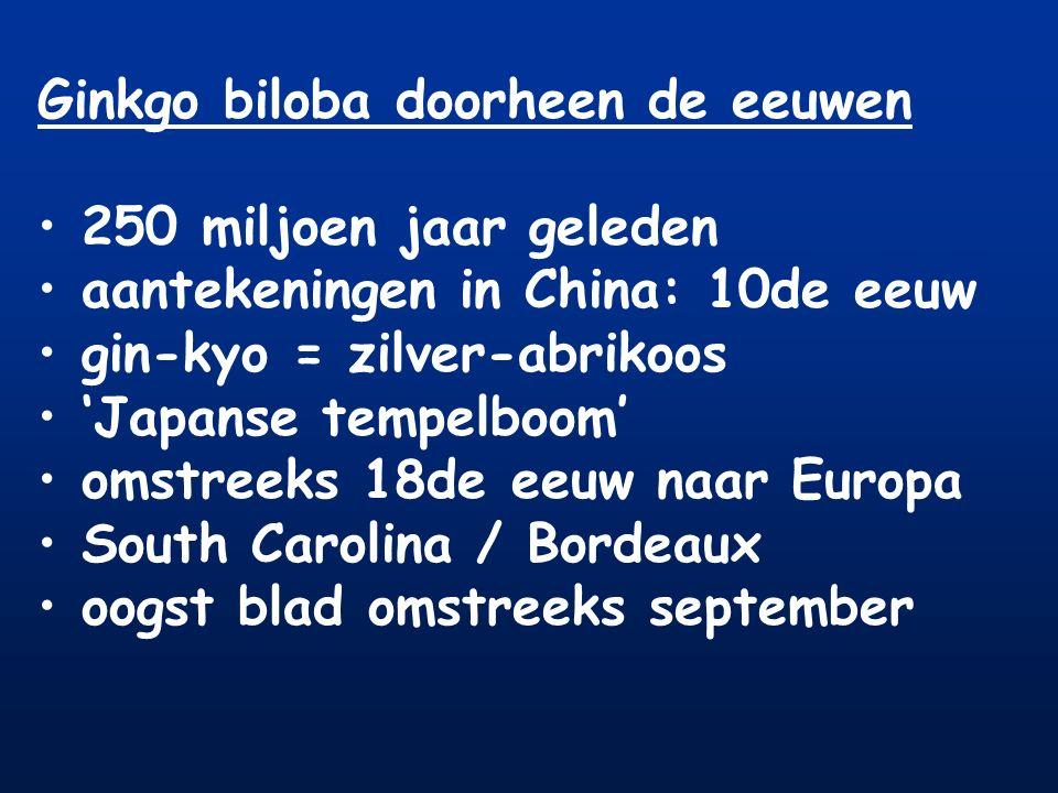 Ginkgo biloba doorheen de eeuwen 250 miljoen jaar geleden aantekeningen in China: 10de eeuw gin-kyo = zilver-abrikoos 'Japanse tempelboom' omstreeks 1