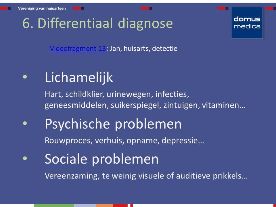 6. Differentiaal diagnose Videofragment 13Videofragment 13: Jan, huisarts, detectie Lichamelijk Hart, schildklier, urinewegen, infecties, geneesmiddel