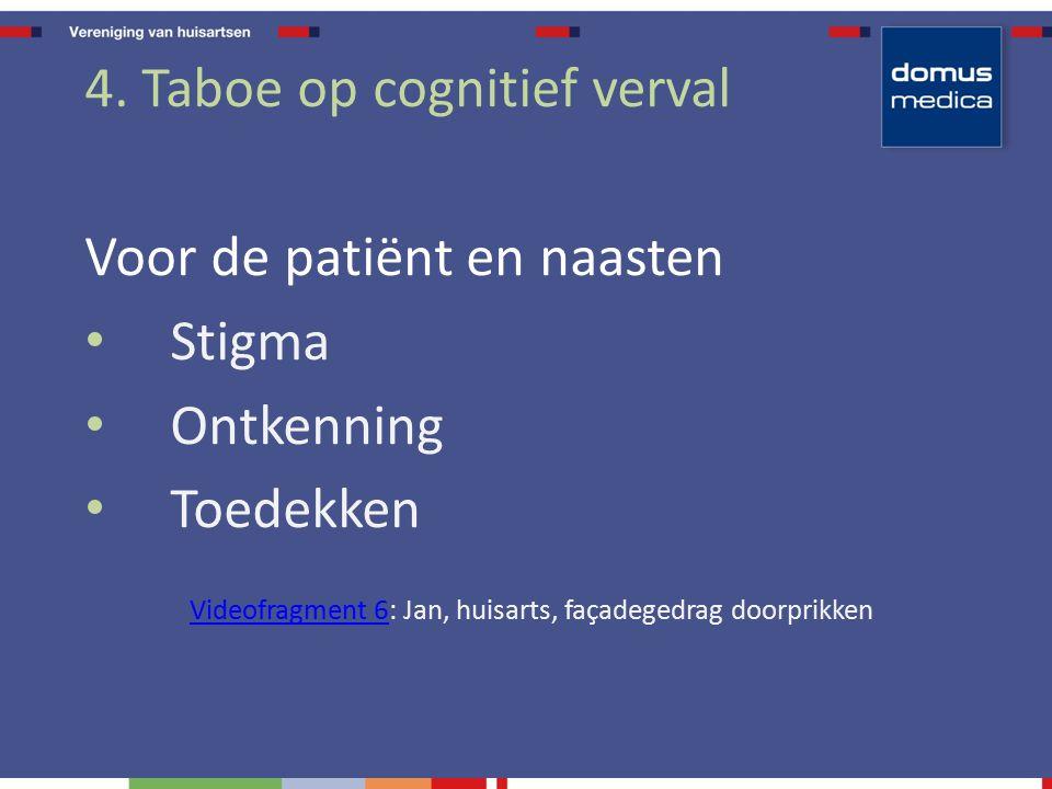 4. Taboe op cognitief verval Voor de patiënt en naasten Stigma Ontkenning Toedekken Videofragment 6Videofragment 6: Jan, huisarts, façadegedrag doorpr