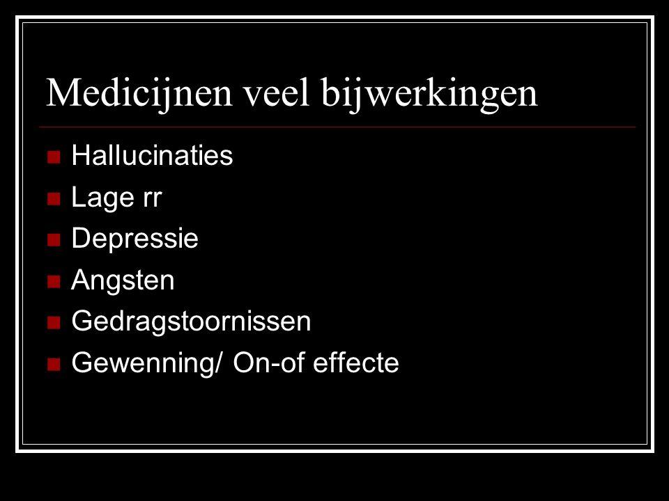 Medicijnen veel bijwerkingen Hallucinaties Lage rr Depressie Angsten Gedragstoornissen Gewenning/ On-of effecte