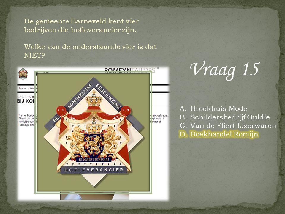 Vraag 14 In het jaar 1132 gaf de Utrechtse bisschop vergunning tot het ontginnen van veengronden in het gebied van de huidige gemeente Barneveld. In d