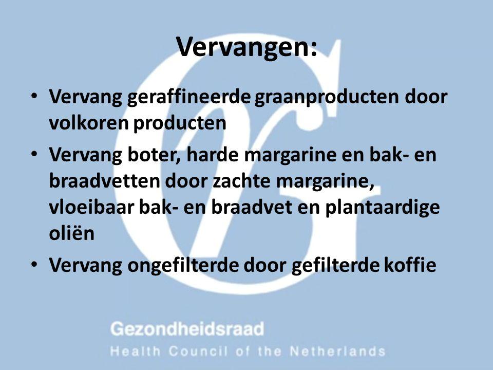 Vervangen: Vervang geraffineerde graanproducten door volkoren producten Vervang boter, harde margarine en bak- en braadvetten door zachte margarine, v