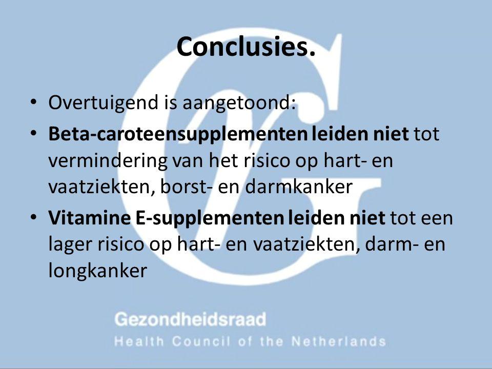 Conclusies. Overtuigend is aangetoond: Beta-caroteensupplementen leiden niet tot vermindering van het risico op hart- en vaatziekten, borst- en darmka