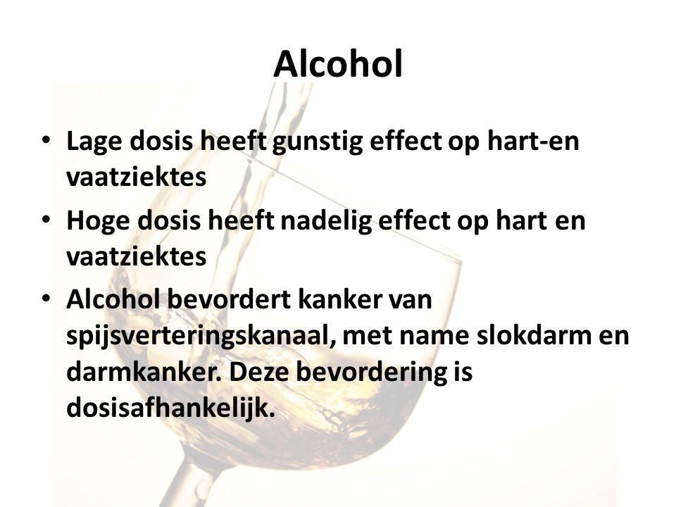 Alcohol Lage dosis heeft gunstig effect op hart-en vaatziektes Hoge dosis heeft nadelig effect op hart en vaatziektes Alcohol bevordert kanker van spi