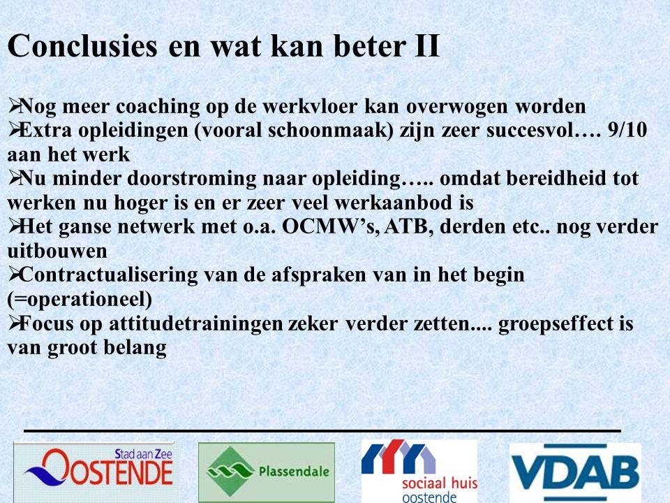 Conclusies en wat kan beter II  Nog meer coaching op de werkvloer kan overwogen worden  Extra opleidingen (vooral schoonmaak) zijn zeer succesvol….
