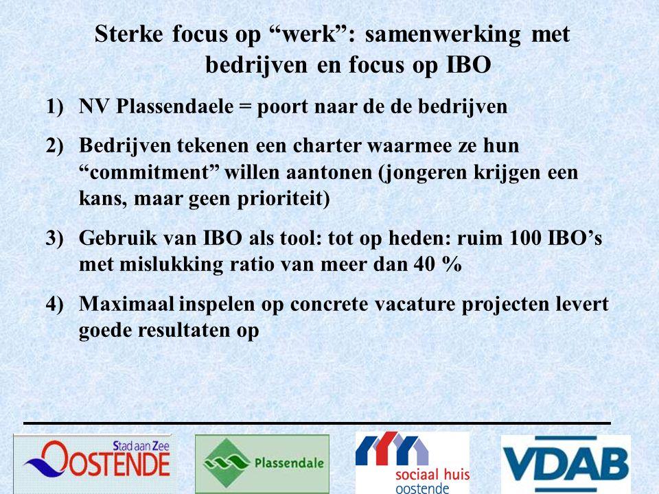 """Sterke focus op """"werk"""": samenwerking met bedrijven en focus op IBO 1)NV Plassendaele = poort naar de de bedrijven 2)Bedrijven tekenen een charter waar"""