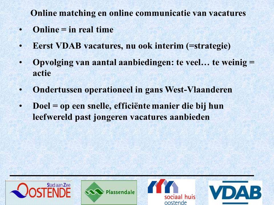 Online matching en online communicatie van vacatures Online = in real time Eerst VDAB vacatures, nu ook interim (=strategie) Opvolging van aantal aanb