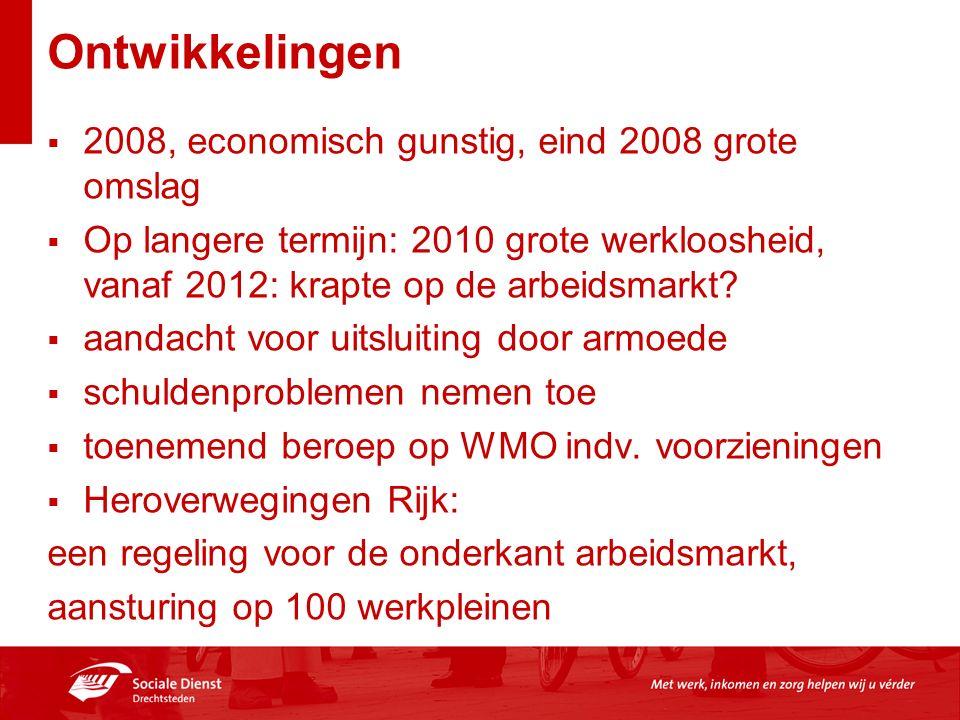 Ontwikkelingen  2008, economisch gunstig, eind 2008 grote omslag  Op langere termijn: 2010 grote werkloosheid, vanaf 2012: krapte op de arbeidsmarkt