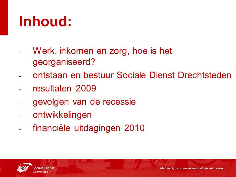 Inhoud: - Werk, inkomen en zorg, hoe is het georganiseerd? - ontstaan en bestuur Sociale Dienst Drechtsteden - resultaten 2009 - gevolgen van de reces