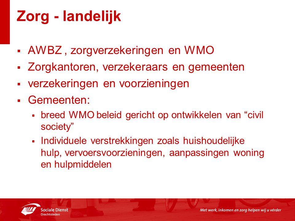 Zorg - landelijk  AWBZ, zorgverzekeringen en WMO  Zorgkantoren, verzekeraars en gemeenten  verzekeringen en voorzieningen  Gemeenten:  breed WMO