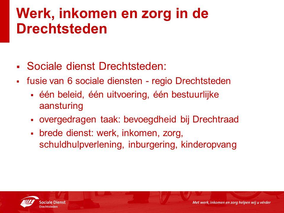 Werk, inkomen en zorg in de Drechtsteden  Sociale dienst Drechtsteden:  fusie van 6 sociale diensten - regio Drechtsteden  één beleid, één uitvoeri