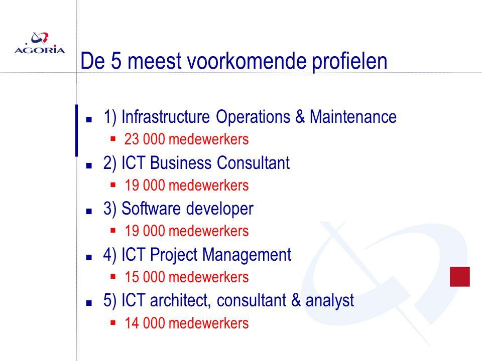 De 5 meest voorkomende profielen n 1) Infrastructure Operations & Maintenance  23 000 medewerkers n 2) ICT Business Consultant  19 000 medewerkers n 3) Software developer  19 000 medewerkers n 4) ICT Project Management  15 000 medewerkers n 5) ICT architect, consultant & analyst  14 000 medewerkers
