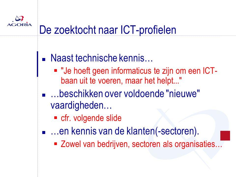 De zoektocht naar ICT-profielen n Naast technische kennis…  Je hoeft geen informaticus te zijn om een ICT- baan uit te voeren, maar het helpt... n …beschikken over voldoende nieuwe vaardigheden…  cfr.