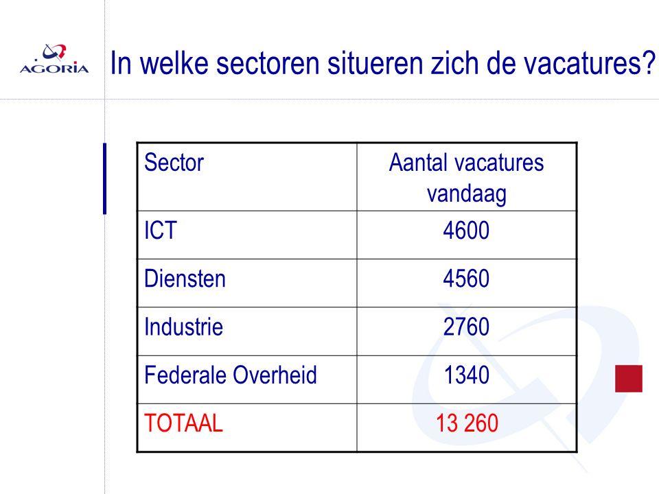 METHODOLOGIE (3/3) SectorWerkgelegenheidExtrapollatieOpen ICT-profielen Diensten1 200 0000,384 560 Federale overheid 100 0001,341 340 ICT-sector 100 0004,604 600 Industrie600 0000,462 760 TOTAAL2 000 00013 260