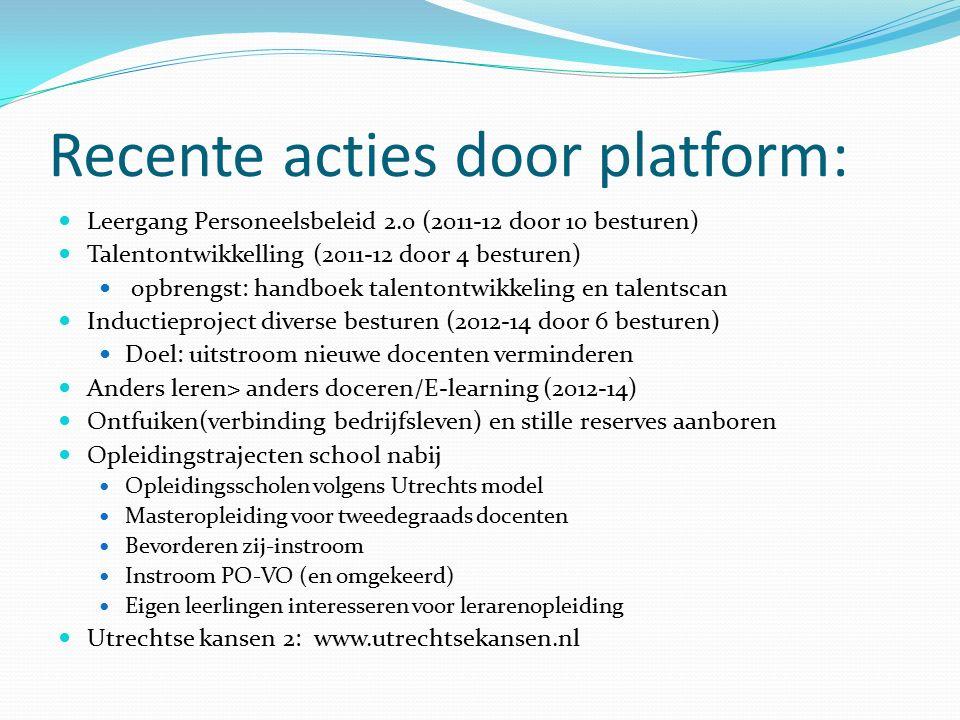 Recente acties door platform: Leergang Personeelsbeleid 2.0 (2011-12 door 10 besturen) Talentontwikkelling (2011-12 door 4 besturen) opbrengst: handbo
