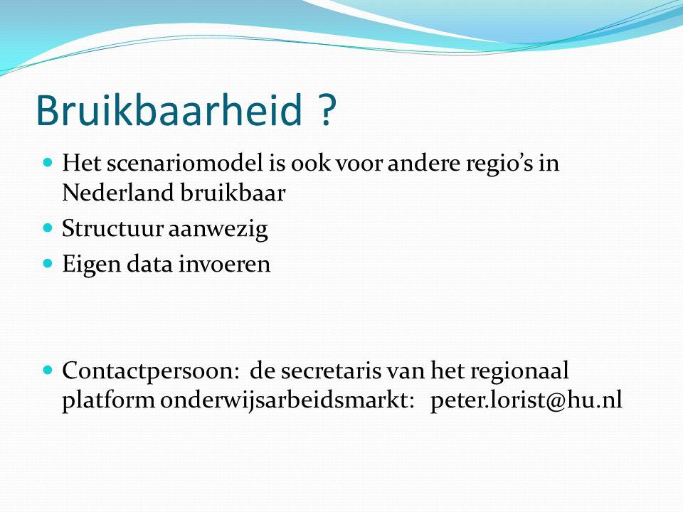 Bruikbaarheid ? Het scenariomodel is ook voor andere regio's in Nederland bruikbaar Structuur aanwezig Eigen data invoeren Contactpersoon: de secretar
