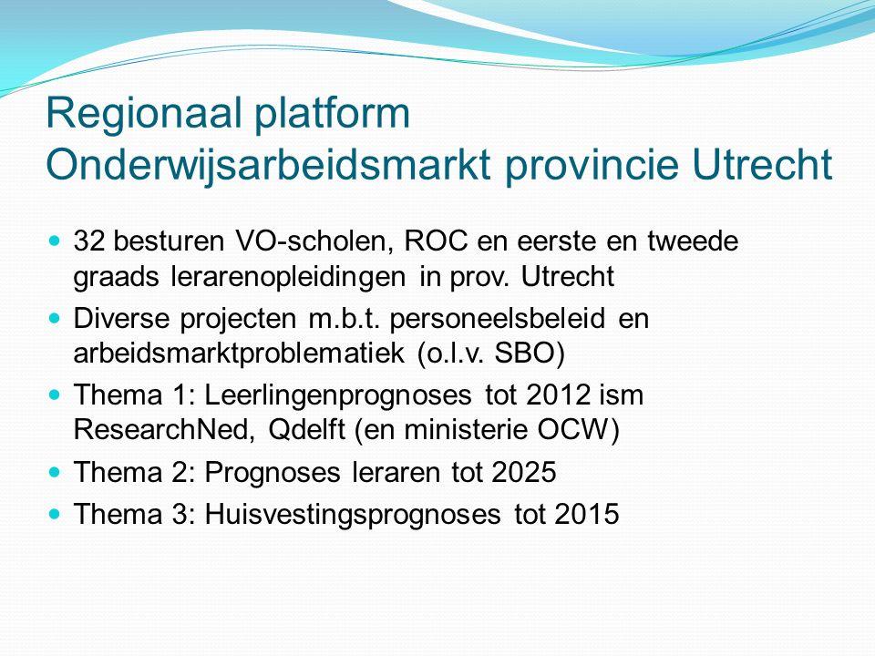 Regionaal platform Onderwijsarbeidsmarkt provincie Utrecht 32 besturen VO-scholen, ROC en eerste en tweede graads lerarenopleidingen in prov.