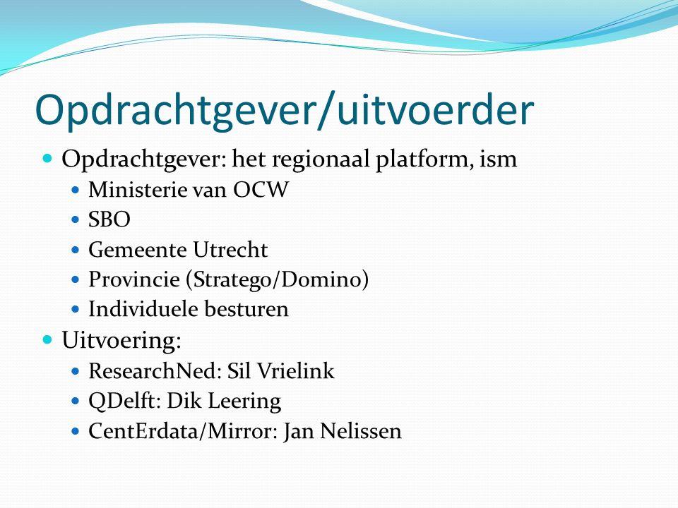 Opdrachtgever/uitvoerder Opdrachtgever: het regionaal platform, ism Ministerie van OCW SBO Gemeente Utrecht Provincie (Stratego/Domino) Individuele besturen Uitvoering: ResearchNed: Sil Vrielink QDelft: Dik Leering CentErdata/Mirror: Jan Nelissen