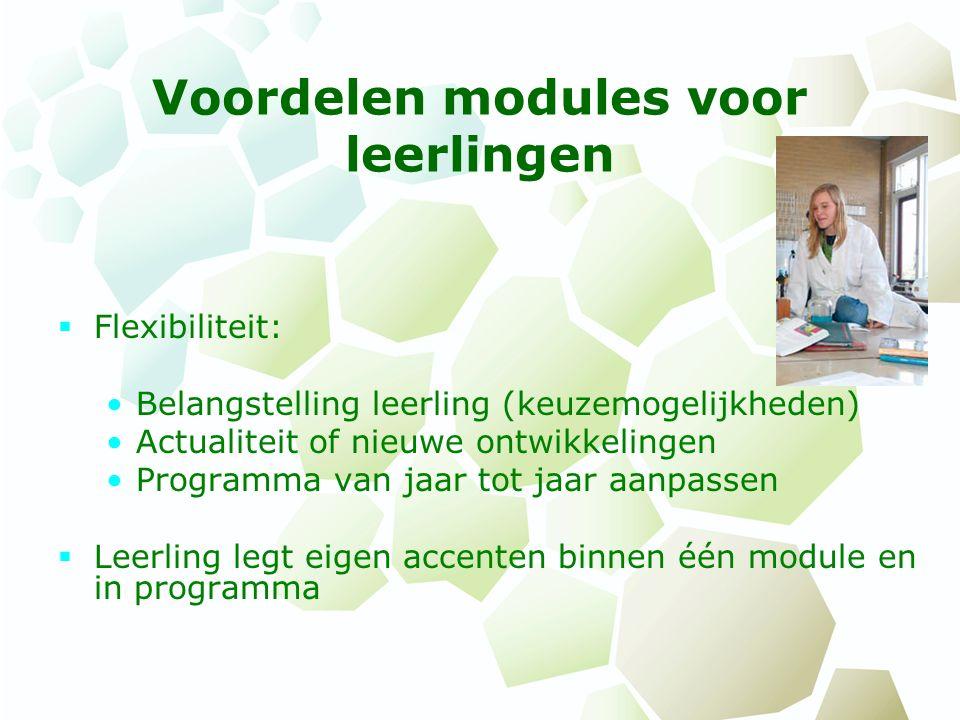Voordelen modules voor leerlingen  Flexibiliteit: Belangstelling leerling (keuzemogelijkheden) Actualiteit of nieuwe ontwikkelingen Programma van jaa