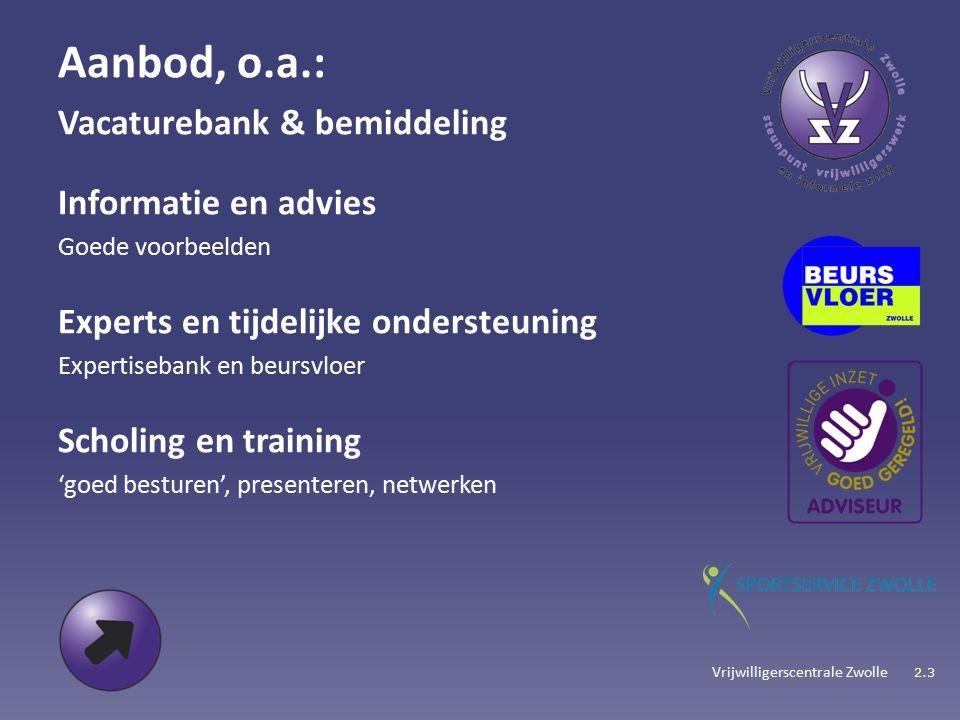 Vrijwilligerscentrale Zwolle Aanbod, o.a.: Vacaturebank & bemiddeling Informatie en advies Goede voorbeelden Experts en tijdelijke ondersteuning Expertisebank en beursvloer Scholing en training 'goed besturen', presenteren, netwerken 2.3