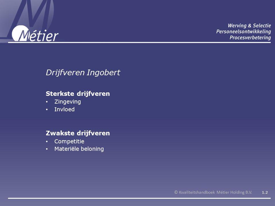 Drijfveren Ingobert © Kwaliteitshandboek Métier Holding B.V.