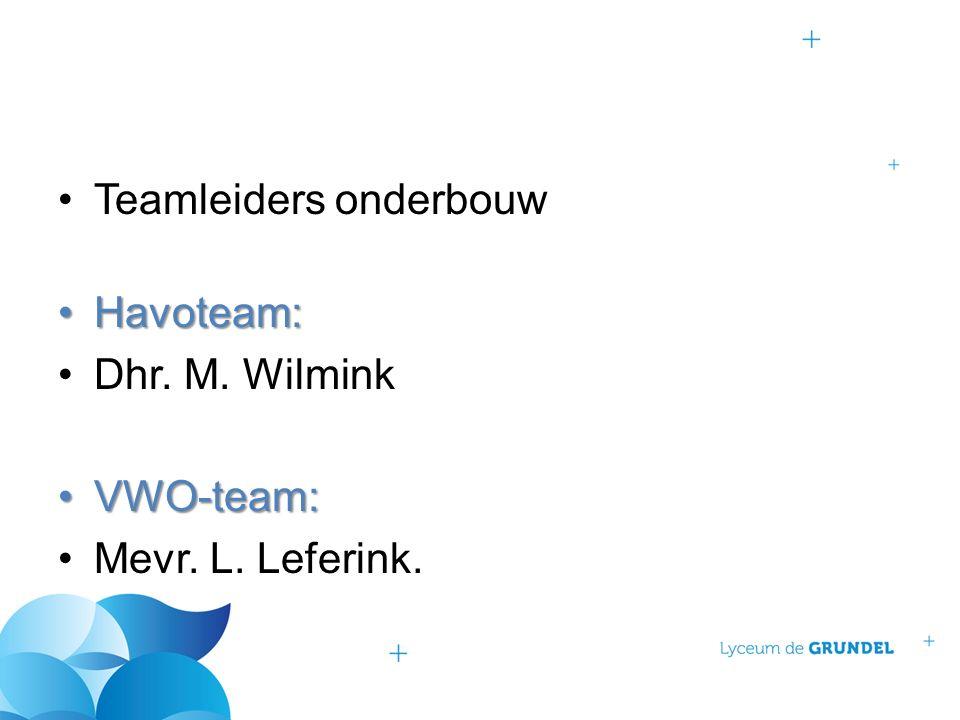 Teamleiders onderbouw Havoteam:Havoteam: Dhr. M. Wilmink VWO-team:VWO-team: Mevr. L. Leferink.