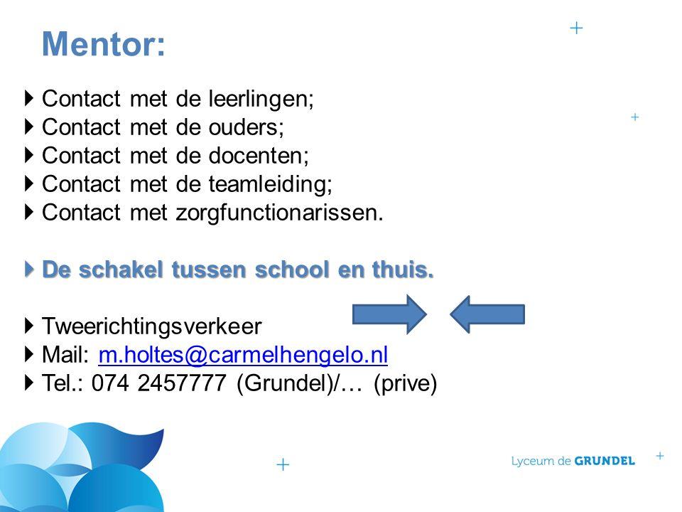  Contact met de leerlingen;  Contact met de ouders;  Contact met de docenten;  Contact met de teamleiding;  Contact met zorgfunctionarissen.