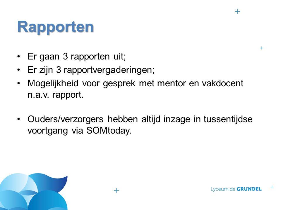 Er gaan 3 rapporten uit; Er zijn 3 rapportvergaderingen; Mogelijkheid voor gesprek met mentor en vakdocent n.a.v.