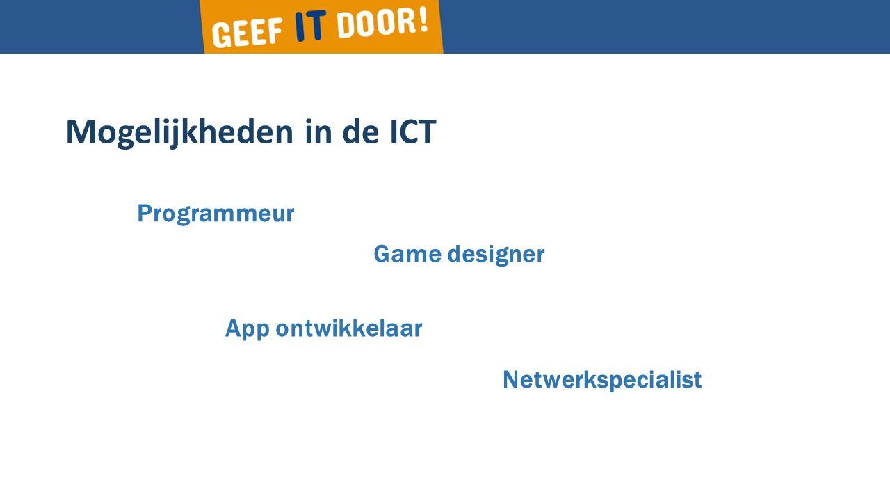Mogelijkheden in de ICT Programmeur App ontwikkelaar Game designer Netwerkspecialist