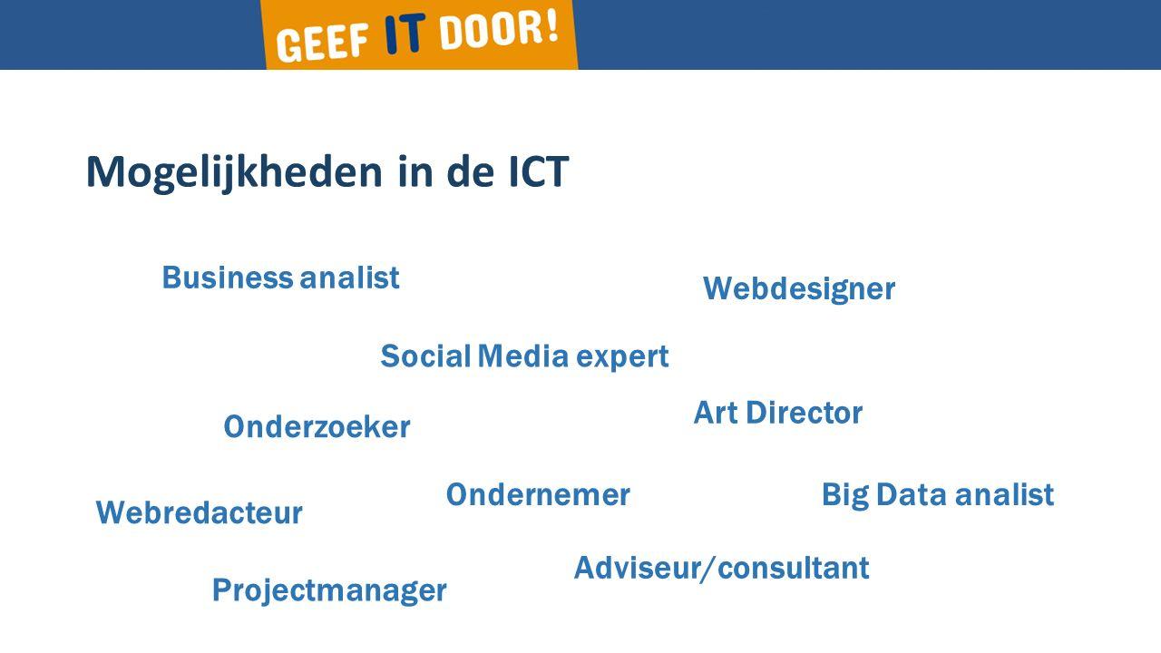 Mogelijkheden in de ICT Business analist Social Media expert Webredacteur Ondernemer Webdesigner Big Data analist Onderzoeker Adviseur/consultant Projectmanager Art Director