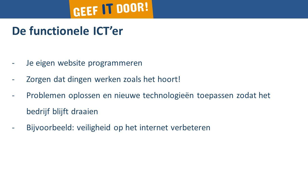 De functionele ICT'er -Je eigen website programmeren -Zorgen dat dingen werken zoals het hoort.