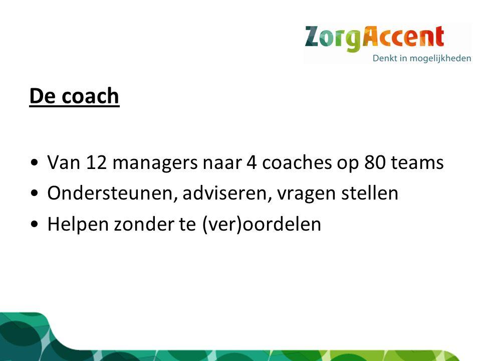 De coach Van 12 managers naar 4 coaches op 80 teams Ondersteunen, adviseren, vragen stellen Helpen zonder te (ver)oordelen