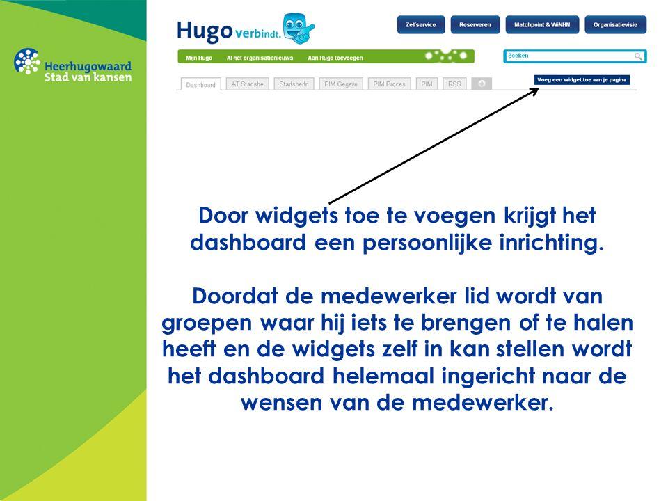 Door widgets toe te voegen krijgt het dashboard een persoonlijke inrichting. Doordat de medewerker lid wordt van groepen waar hij iets te brengen of t