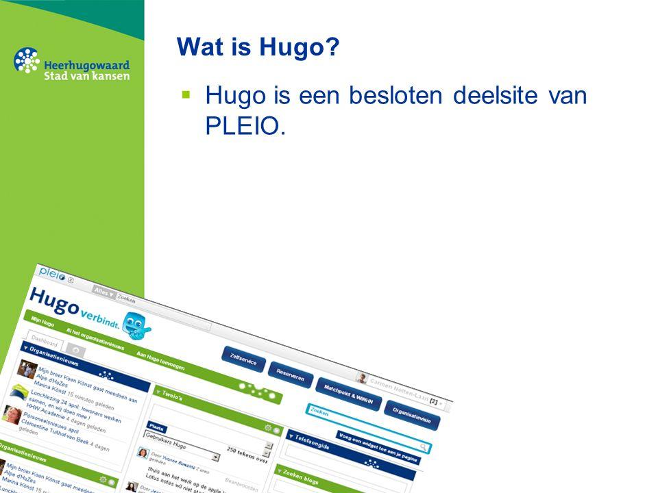 Wat is Hugo?  Hugo is een besloten deelsite van PLEIO.