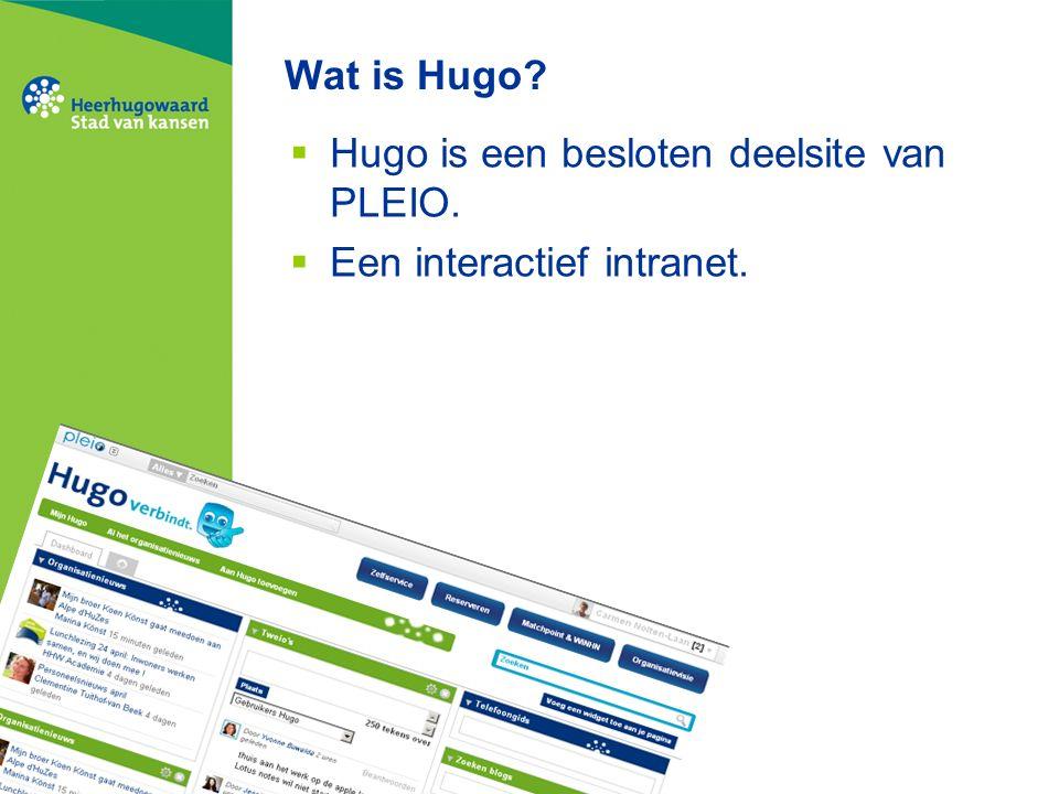 Wat is Hugo  Hugo is een besloten deelsite van PLEIO.  Een interactief intranet.