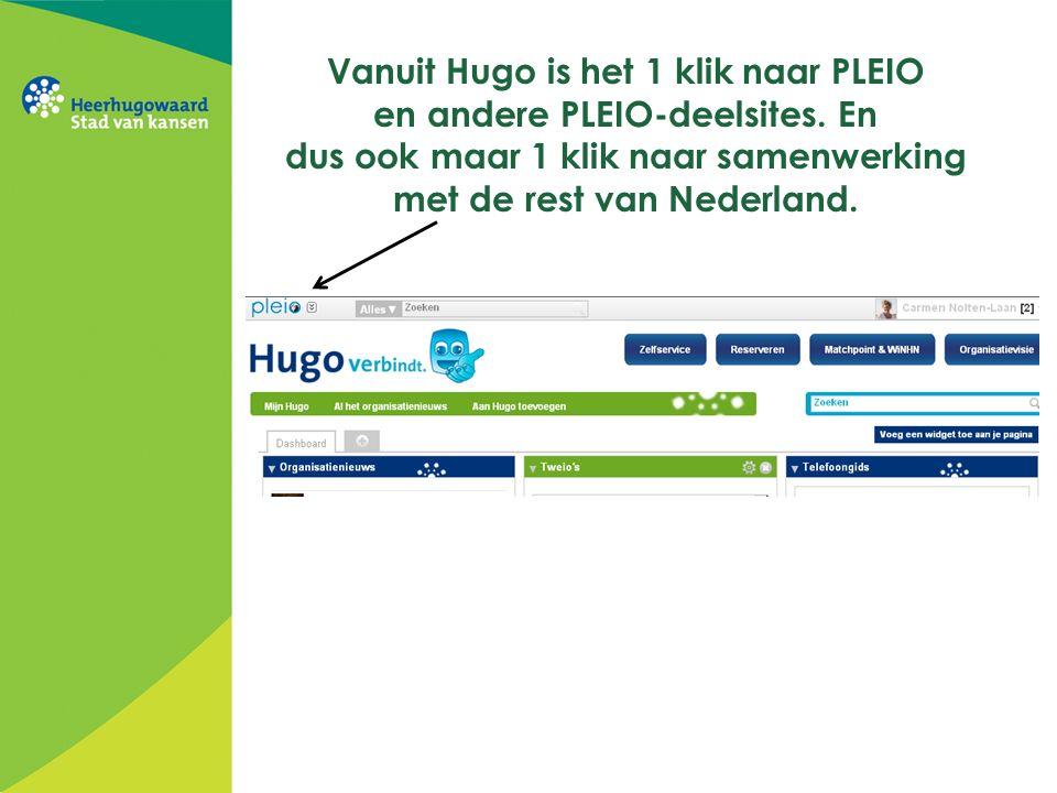 Vanuit Hugo is het 1 klik naar PLEIO en andere PLEIO-deelsites. En dus ook maar 1 klik naar samenwerking met de rest van Nederland.