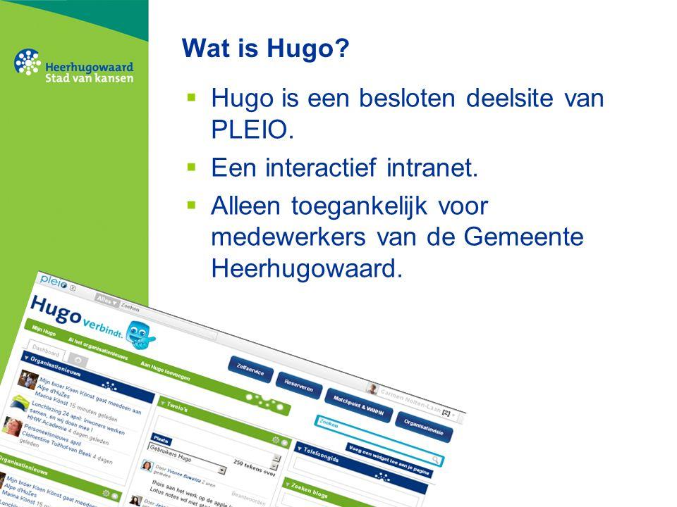 Wat is Hugo.  Hugo is een besloten deelsite van PLEIO.