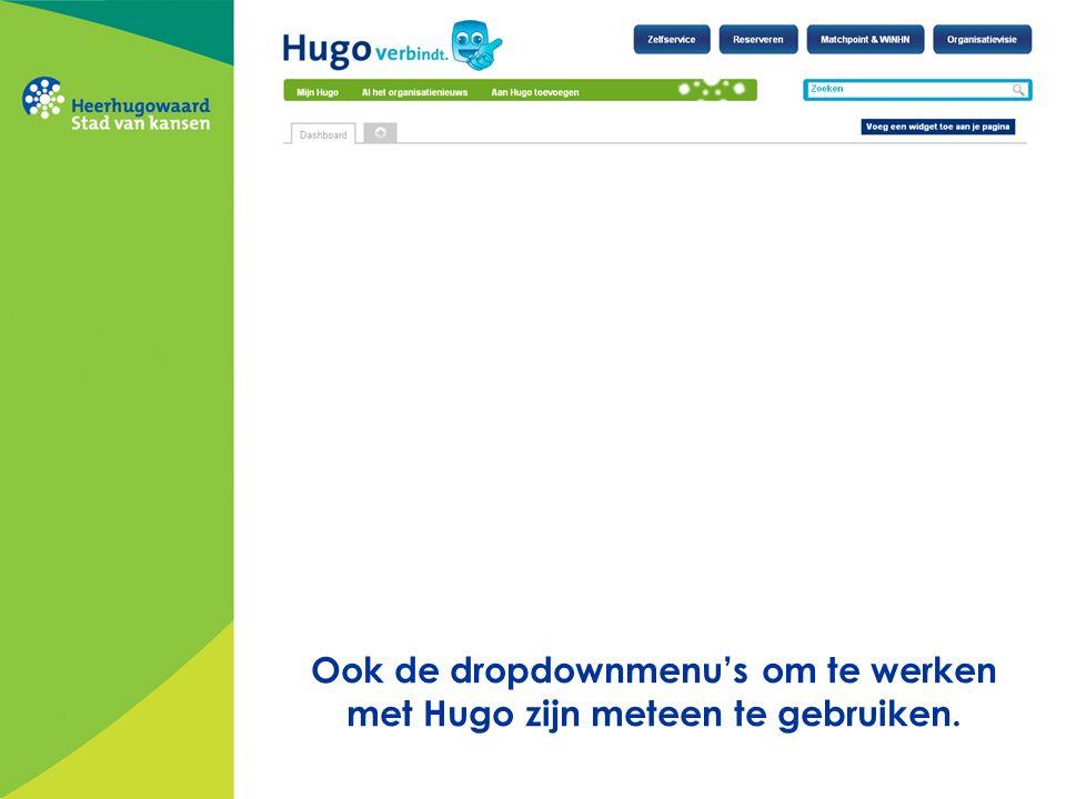 Ook de dropdownmenu's om te werken met Hugo zijn meteen te gebruiken.