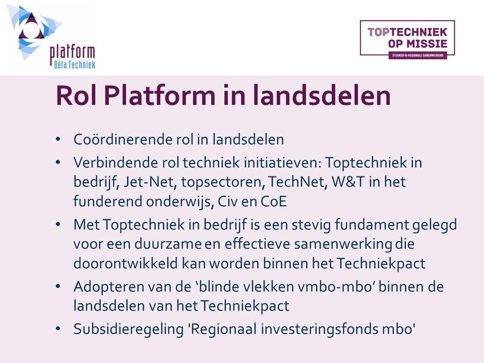 Rol Platform in landsdelen Coördinerende rol in landsdelen Verbindende rol techniek initiatieven: Toptechniek in bedrijf, Jet-Net, topsectoren, TechNet, W&T in het funderend onderwijs, Civ en CoE Met Toptechniek in bedrijf is een stevig fundament gelegd voor een duurzame en effectieve samenwerking die doorontwikkeld kan worden binnen het Techniekpact Adopteren van de 'blinde vlekken vmbo-mbo' binnen de landsdelen van het Techniekpact Subsidieregeling Regionaal investeringsfonds mbo