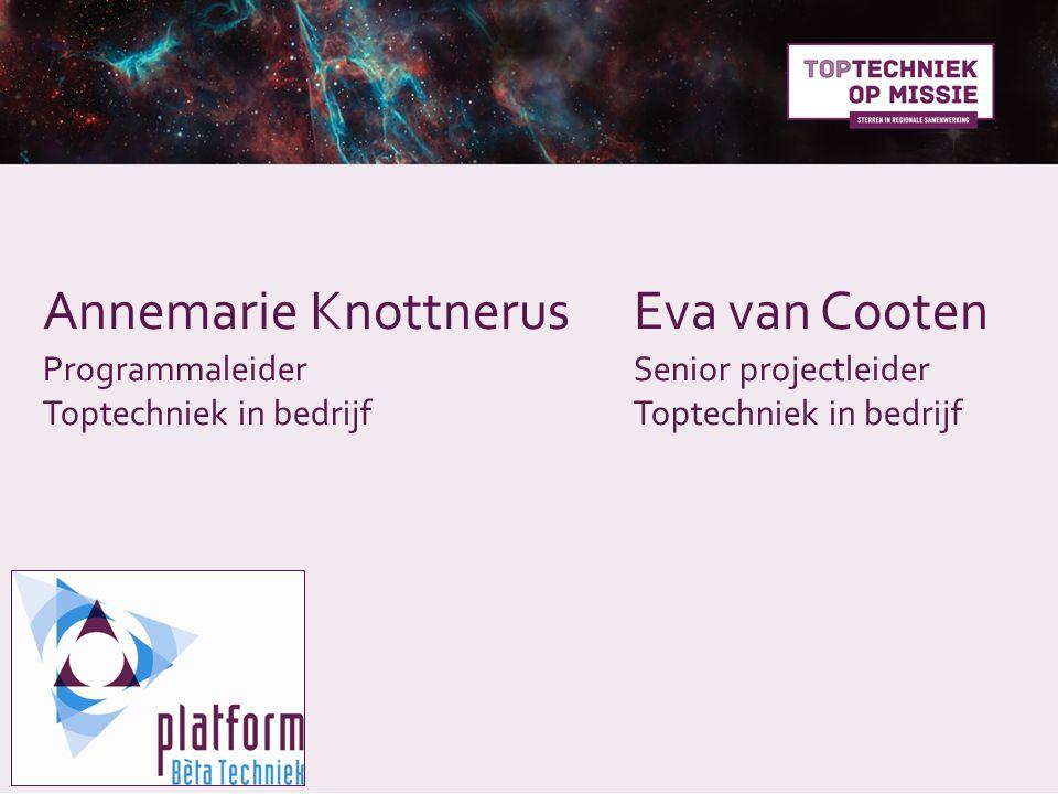 Annemarie KnottnerusEva van Cooten ProgrammaleiderSenior projectleider Toptechniek in bedrijf Toptechniek in bedrijf