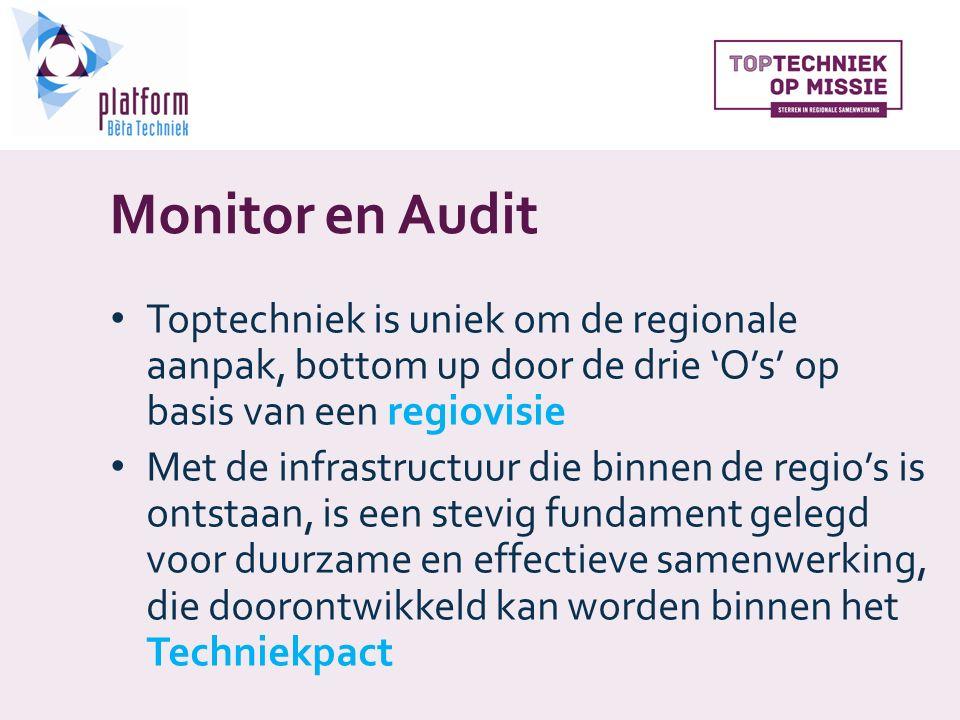Monitor en Audit Toptechniek is uniek om de regionale aanpak, bottom up door de drie 'O's' op basis van een regiovisie Met de infrastructuur die binnen de regio's is ontstaan, is een stevig fundament gelegd voor duurzame en effectieve samenwerking, die doorontwikkeld kan worden binnen het Techniekpact