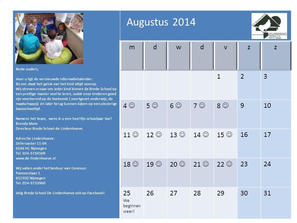 De schooltijden voor onze school zijn als volgt: Groep 1 t/m 4: Ma/di/do/vr: 8.45u tot 12.00u en 13.15 tot 15.15u Wo: 8.45u-12.00u Groep 1 is op maandag vrij Groep 5 tot en met 8: Ma/di/do/vr: 8.45u tot 12.15u en 13.15u tot 15.15u Wo: 8.45u – 12.30u Naar binnen gaan Vanaf 8.30 uur komen de kinderen, eventueel met hun ouders, oppas etc.