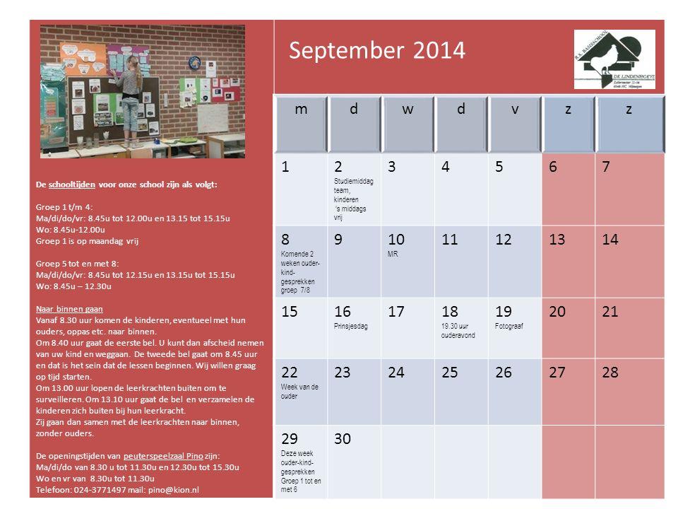 Kalender De Lindenhoeve 2014 - 2015