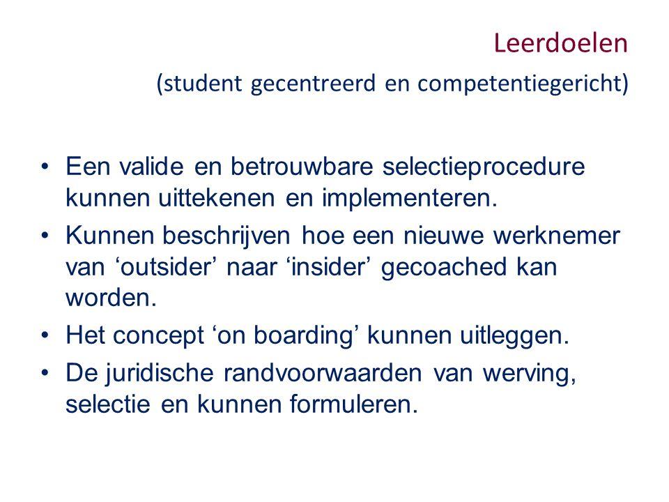 Leerdoelen (student gecentreerd en competentiegericht) Een valide en betrouwbare selectieprocedure kunnen uittekenen en implementeren.