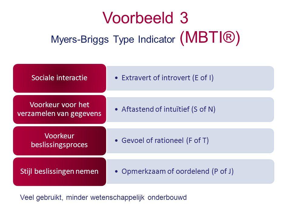 Voorbeeld 3 Myers-Briggs Type Indicator (MBTI®) Extravert of introvert (E of I) Sociale interactie Aftastend of intuïtief (S of N) Voorkeur voor het verzamelen van gegevens Gevoel of rationeel (F of T) Voorkeur beslissingsproces Opmerkzaam of oordelend (P of J) Stijl beslissingen nemen Veel gebruikt, minder wetenschappelijk onderbouwd