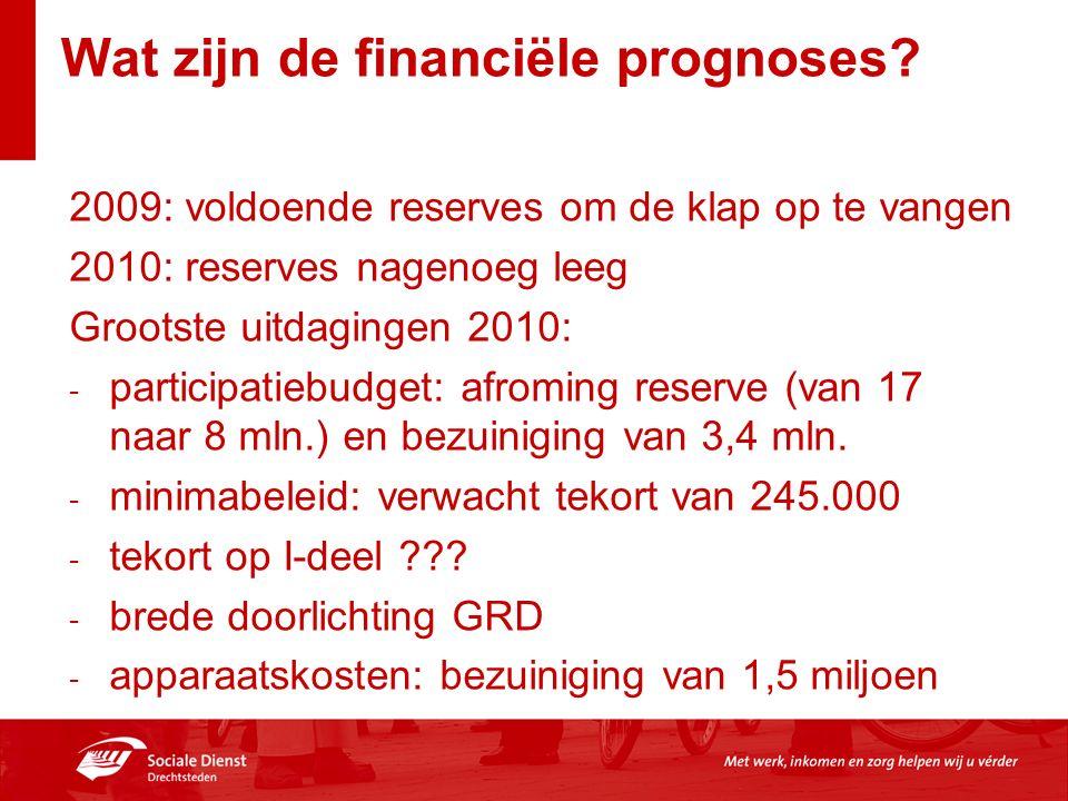 Wat zijn de financiële prognoses? 2009: voldoende reserves om de klap op te vangen 2010: reserves nagenoeg leeg Grootste uitdagingen 2010: - participa